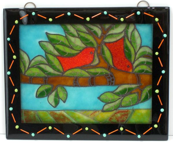 Two REd Birds/Green Leaves