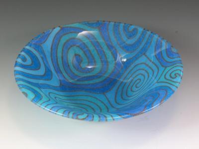 Turquoise Blue Topo Bowl #80