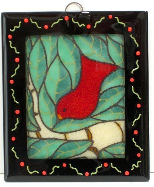 Red Bird/Aqua Leaves